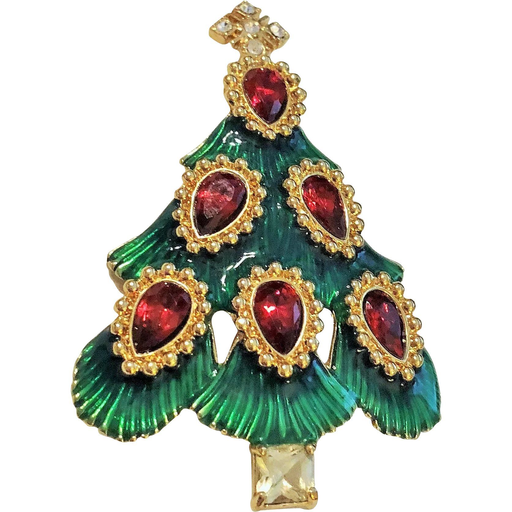 Christmas Tree Pin Brooch with Ruby Red