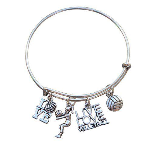 Volleyball Bracelet Girls Volleyball Jewelry Perfect V Https Www Amazon Com Dp B01hbpcvt4 Ref Cm Bangle Bracelets With Charms Bangle Bracelets Jewelry