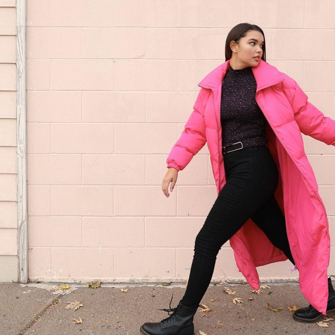 Women's long sleeve zip-up puffer jacket - wild fable™ pink m