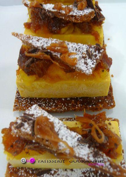 "La tarte citrouille façon Tatin: Pâte feuilletée caramelisée, crème de courge, agrumes.    Pumpkin Pie ""tatin"" style: Caramelized puff pastry, pumpkin cream, citrus"