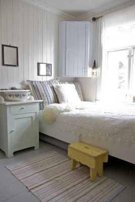 old fashioned painted wood furniture & wainscotting