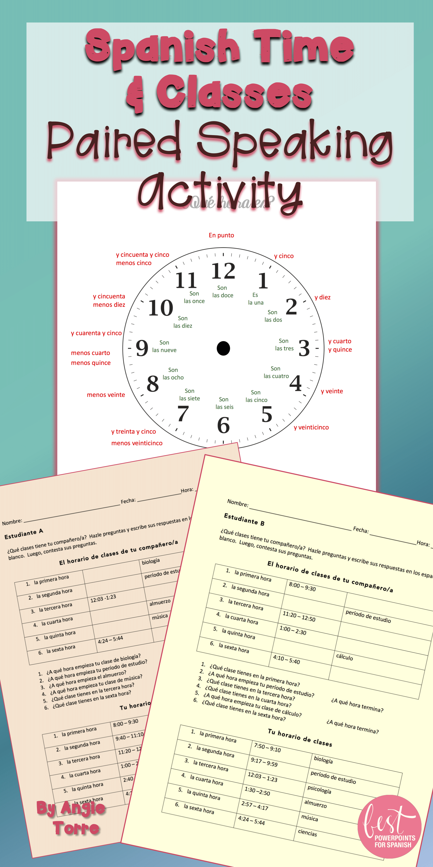 Spanish Time La Hora And Classes Speaking Paired Activity