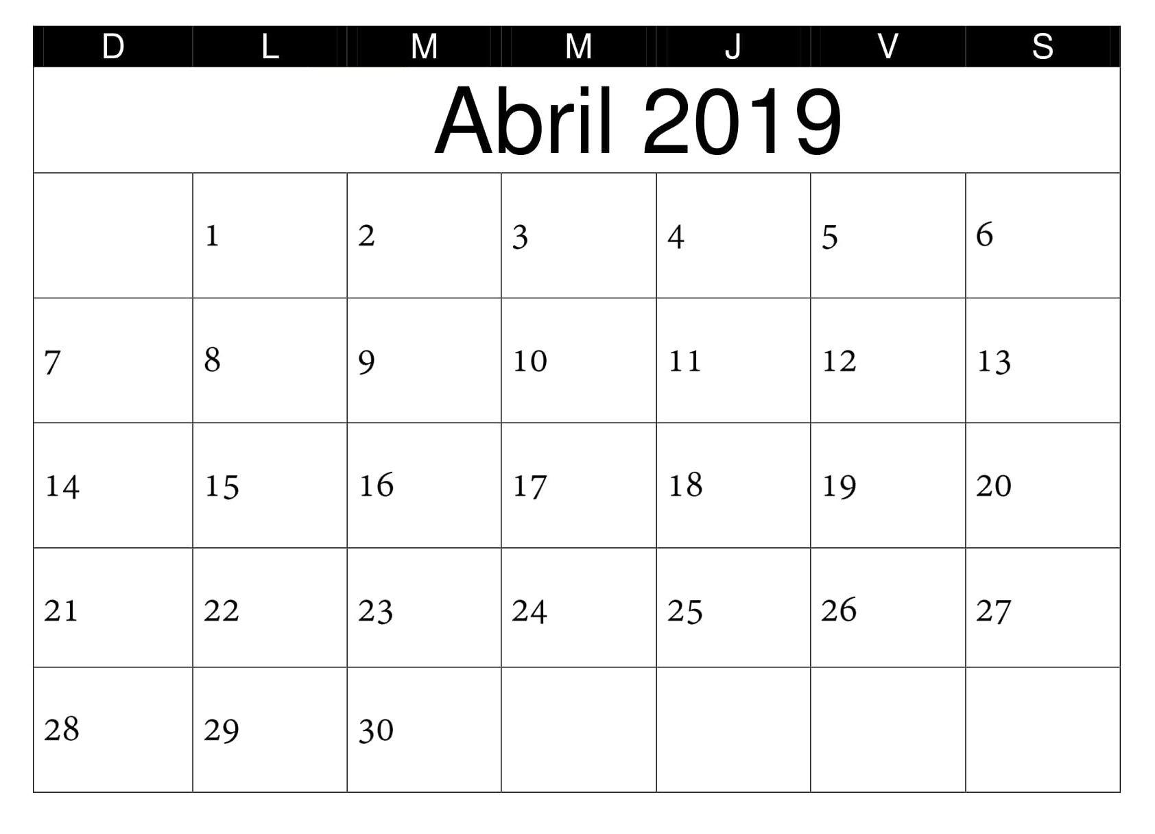 05c235521 Calendario PDF Abril 2019 Argentina