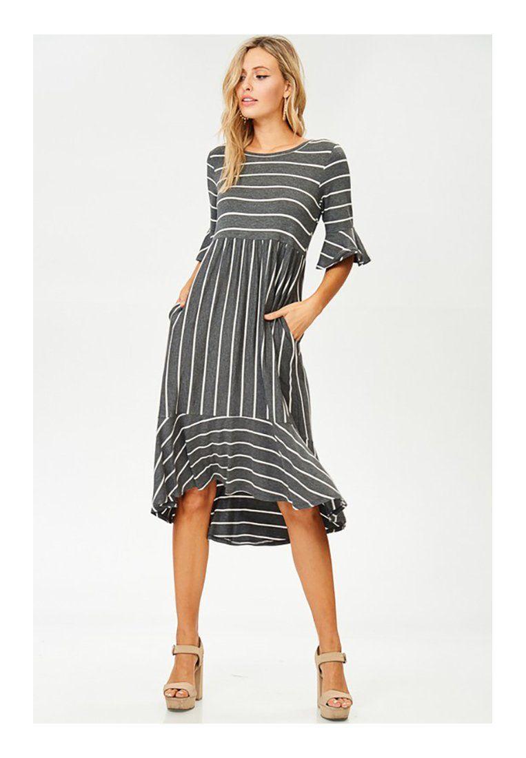 21024fcf23d6 Women Midi Short Sleeve Strip Dress