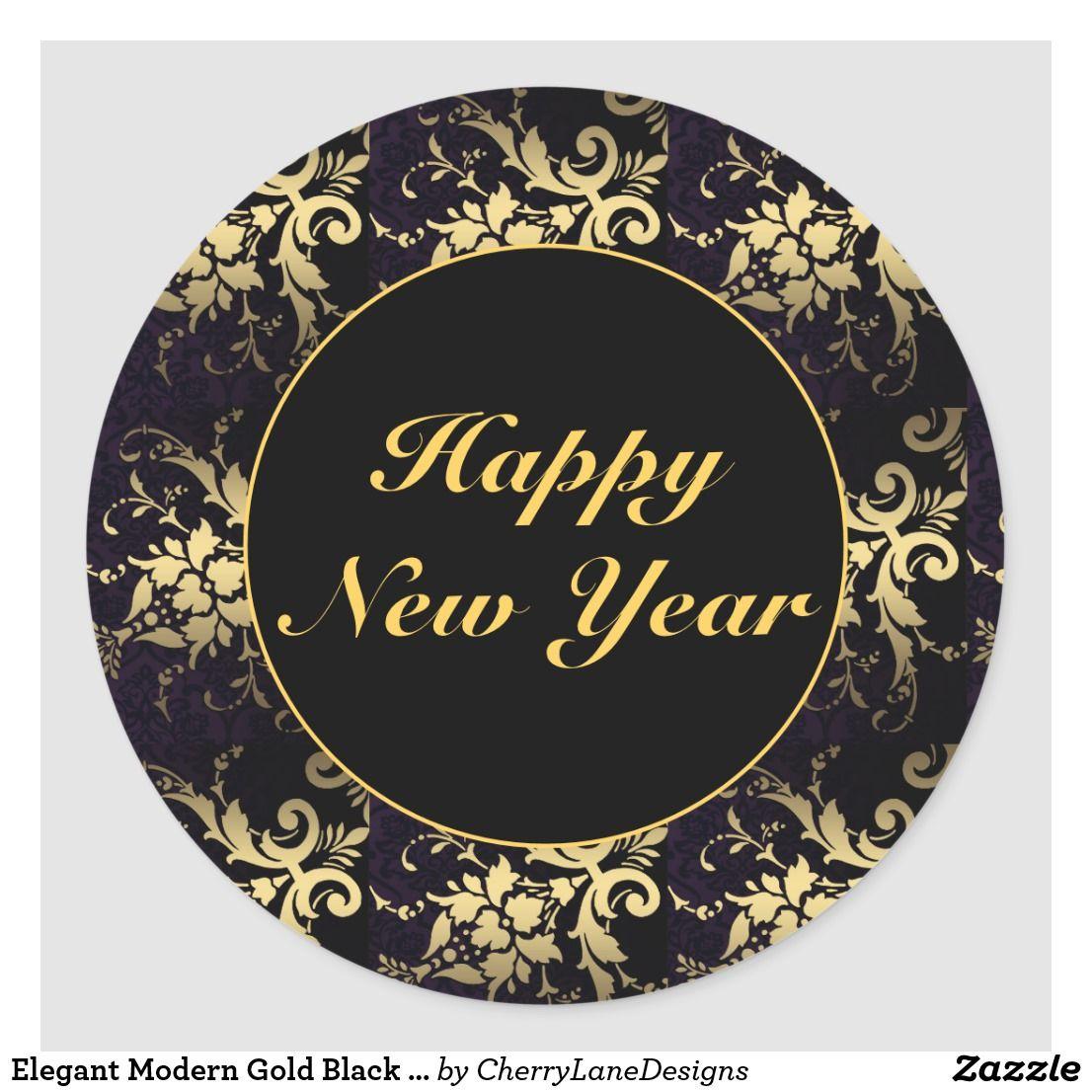 Elegant Modern Gold Black Happy New Year Stickers Zazzle Com In 2021 Happy New Year Stickers Happy New Year Images New Year Stickers