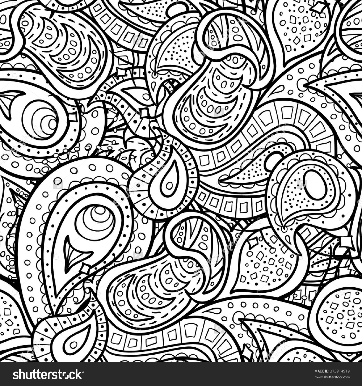Vector Paisley Doodle Seamless Pattern Coloring Book For Adult And ChildrenColoring Page