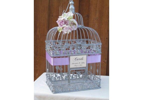 1000 images about mariage mauve parme violet gris argent lilac silver grey wedding on pinterest mercury glass mauve and tables - Urne Mariage Cage Oiseau