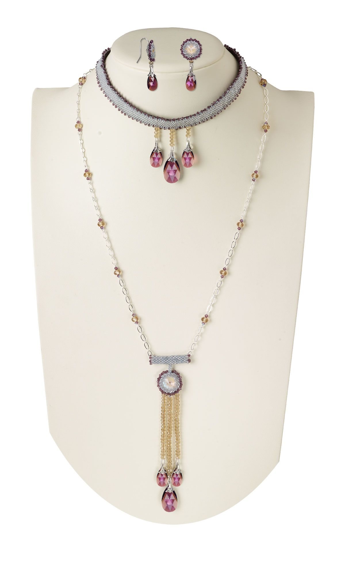 Jewelry design twopiece necklace and earring set with swarovski