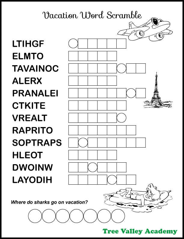 vacation  u0026 travel themed word scramble for kids in 2020