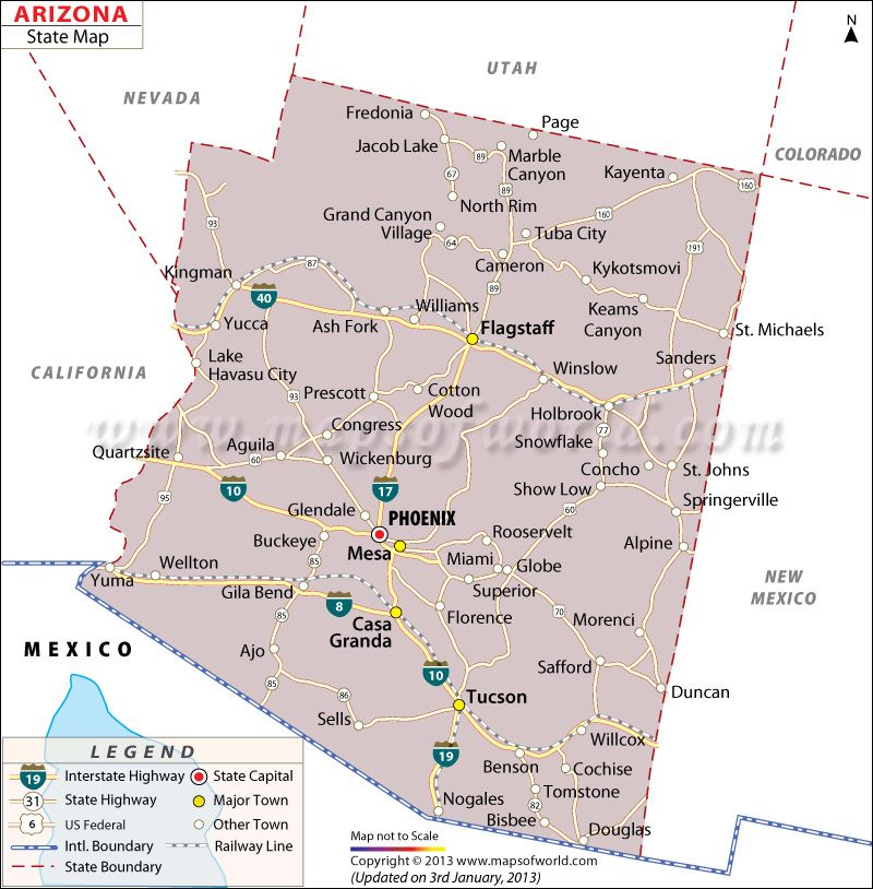 Map Of Arizona Counties And Cities.State Map Of Arizona Us States Arizona State Map State Map Map