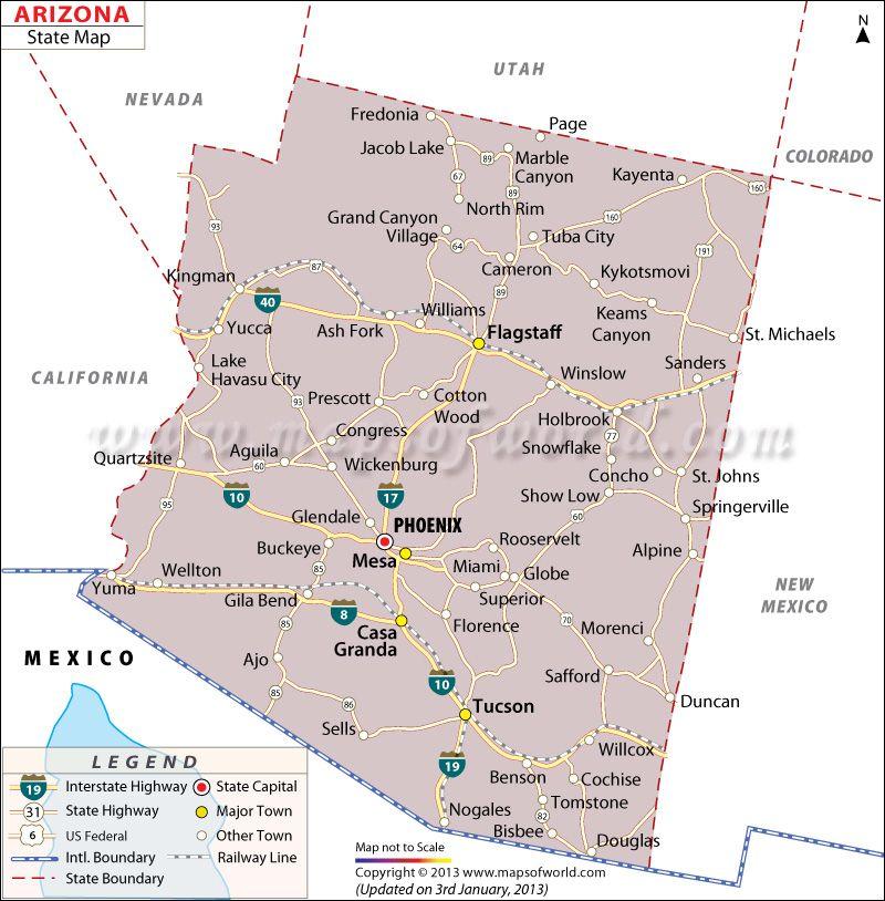 State Map Of Arizona US States Pinterest Capital City And City - Arizona on a us map