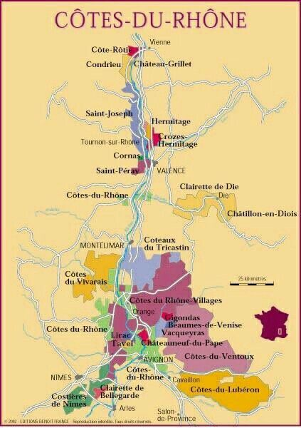 Cotes du Rhone wine area map | Wine map, French wine regions ...