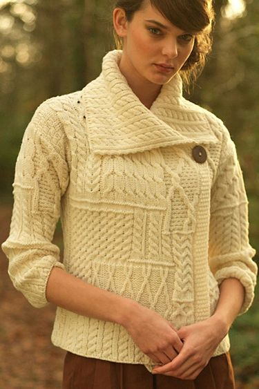 25b3a2f3f5 Carraig Donn Irish Aran Wool Sweater Womens One Button Patchwork Wrap  Cardigan