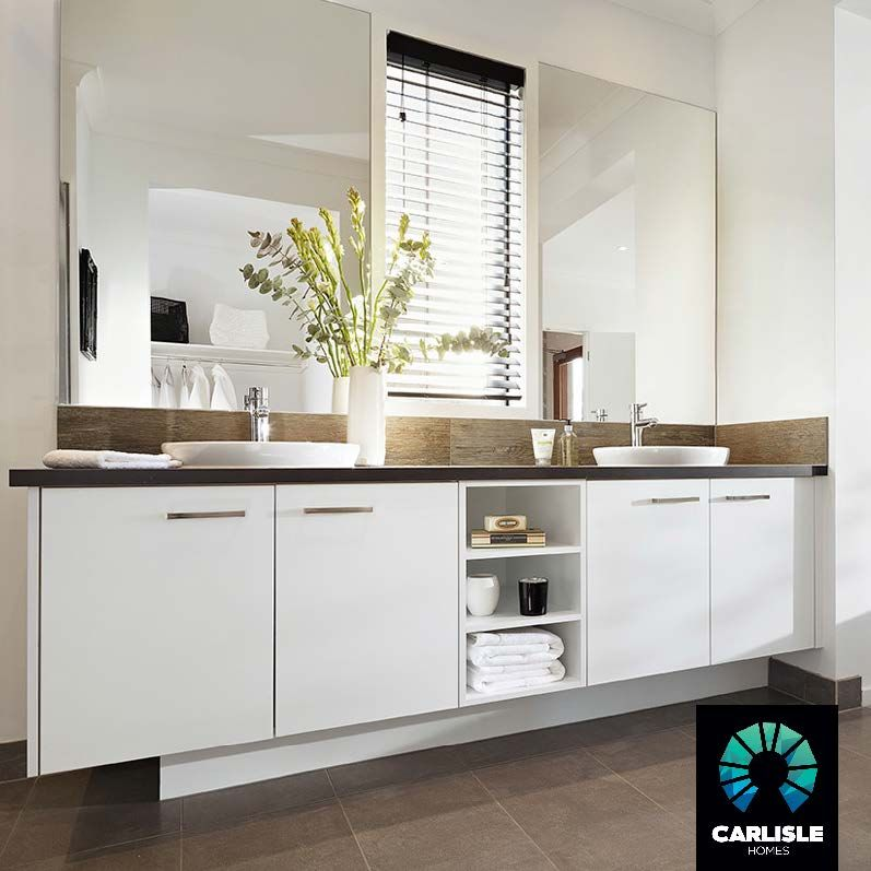 ENSUITE: Double Vanity | Bathroom | White Joinery | Grey Tiles ...