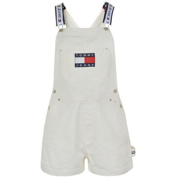 6d2362f1761 Tommy Jeans Denim Dungaree Shorts ($155) ❤ liked on Polyvore featuring  overalls, shorts, white, denim dungaree and tommy hilfiger
