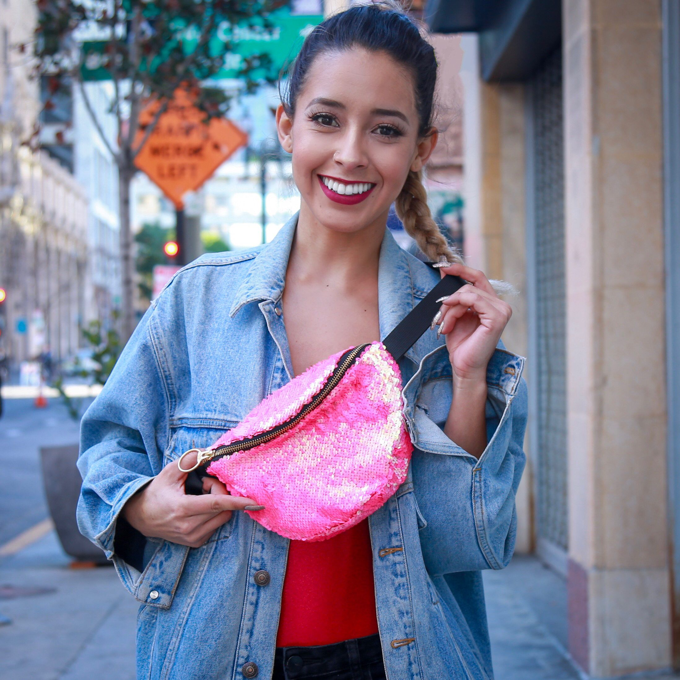 Denim Reverse Sequin Fanny Pack Belt Bag