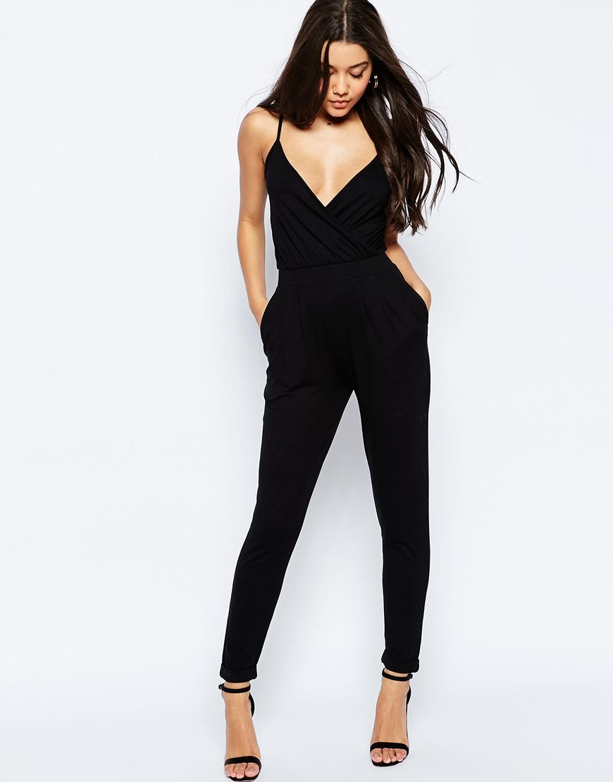 DESIGN cami wrap front jersey jumpsuit with peg leg | jumpsuits and ...