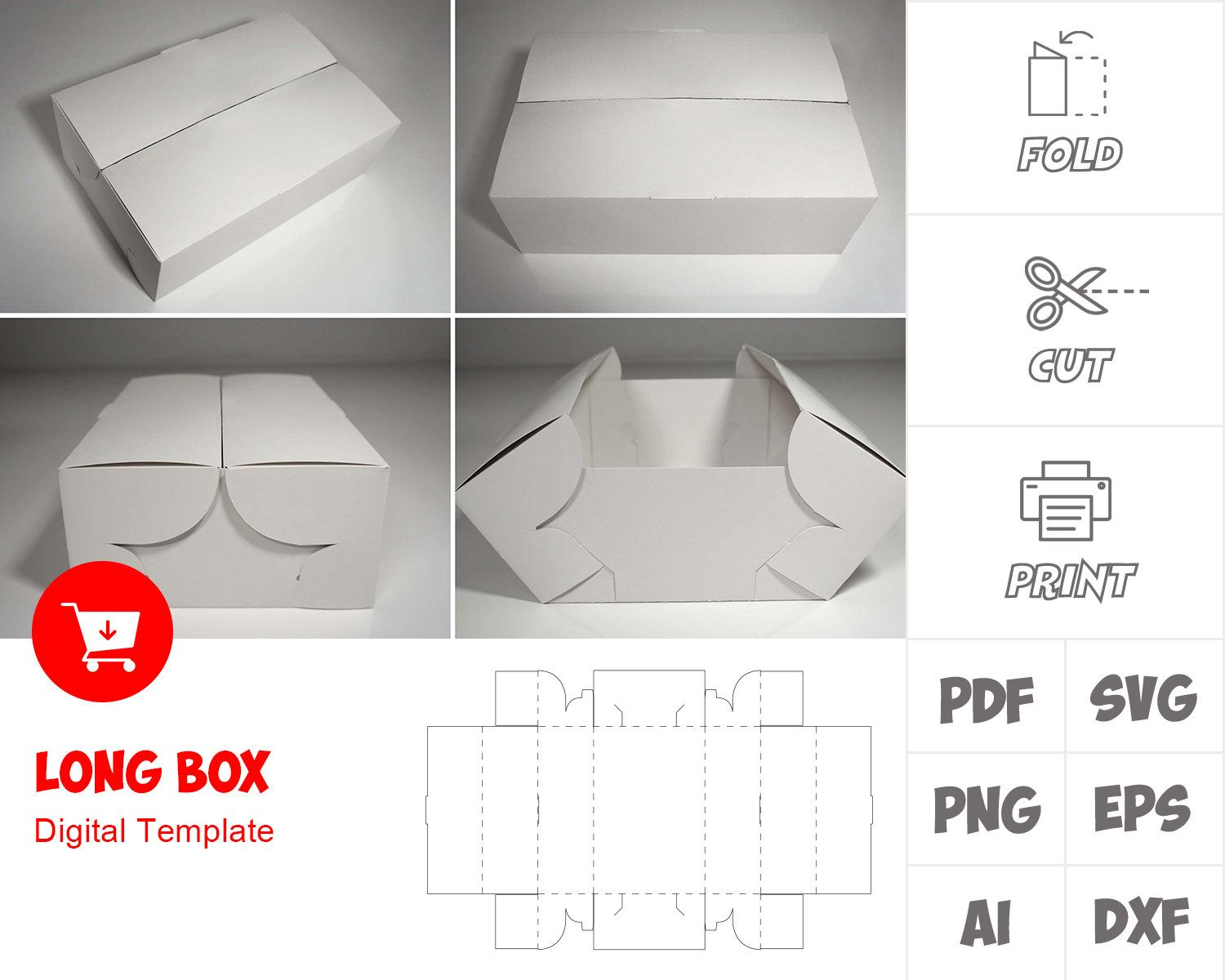 Long Box Template Svg Png Dxf Eps Ai Pdf For Print Etsy Diy Gift Box Template Packaging Template Design Box Template
