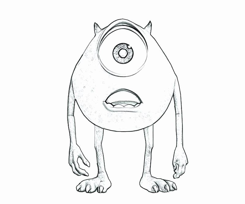 24 Mike Wazowski Coloring Page In 2020 Cartoon Drawings