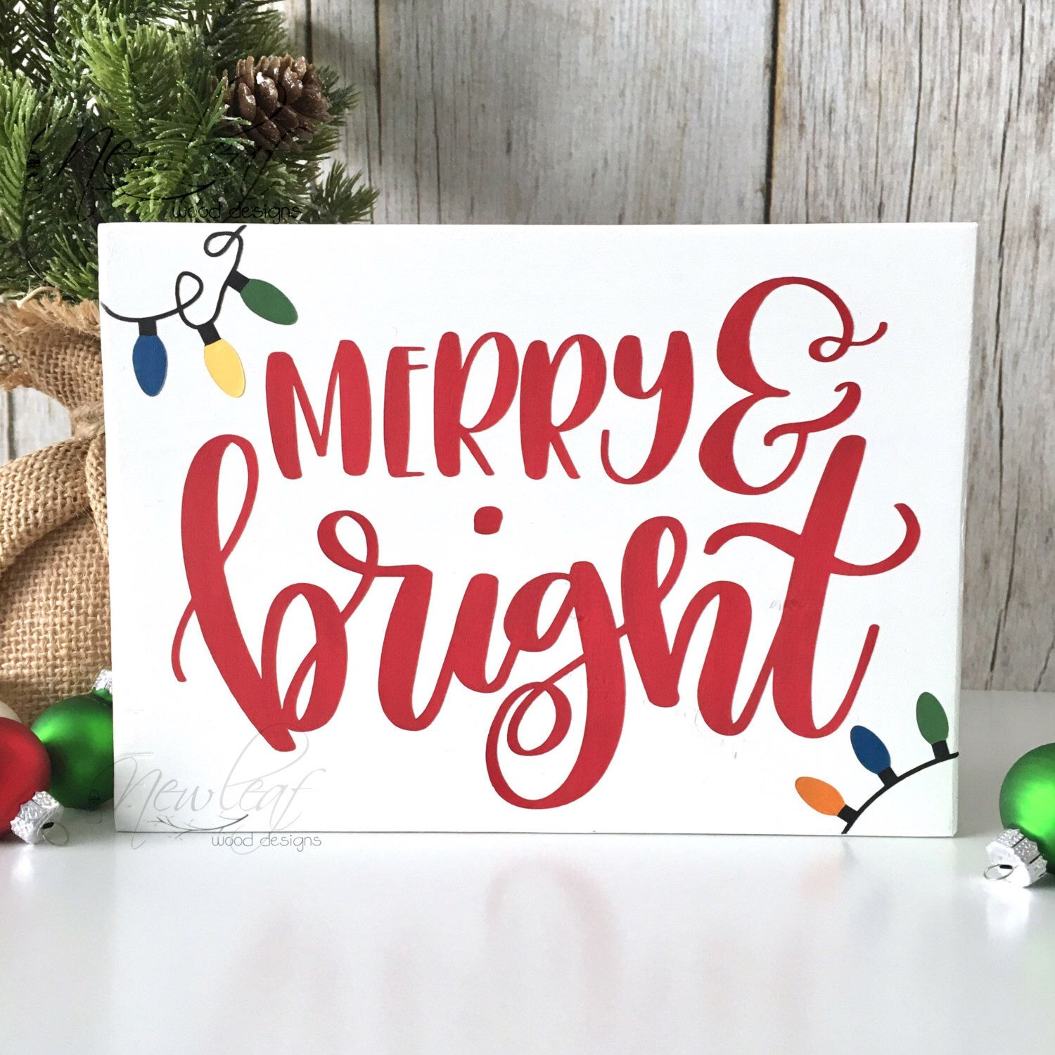 Merry And Bright Sign Christmas Decoration Mini Merry Sign
