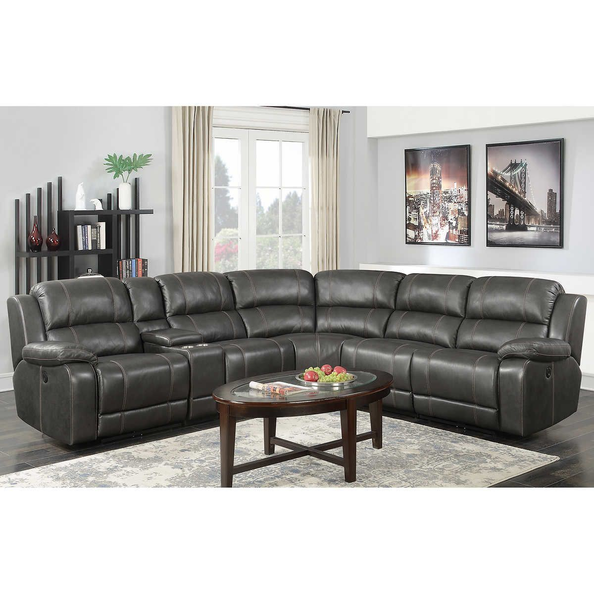 Pin By Sue Williams Brown On Reno Reclining Sectional Sectional Sofa With Recliner Top Grain Leather Sofa