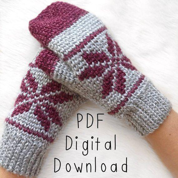 e7ca7c56 Ice-Kissed Mittens Crochet Pattern PDF DIGITAL DOWNLOAD, crochet mitten  pattern, fair isle crochet,