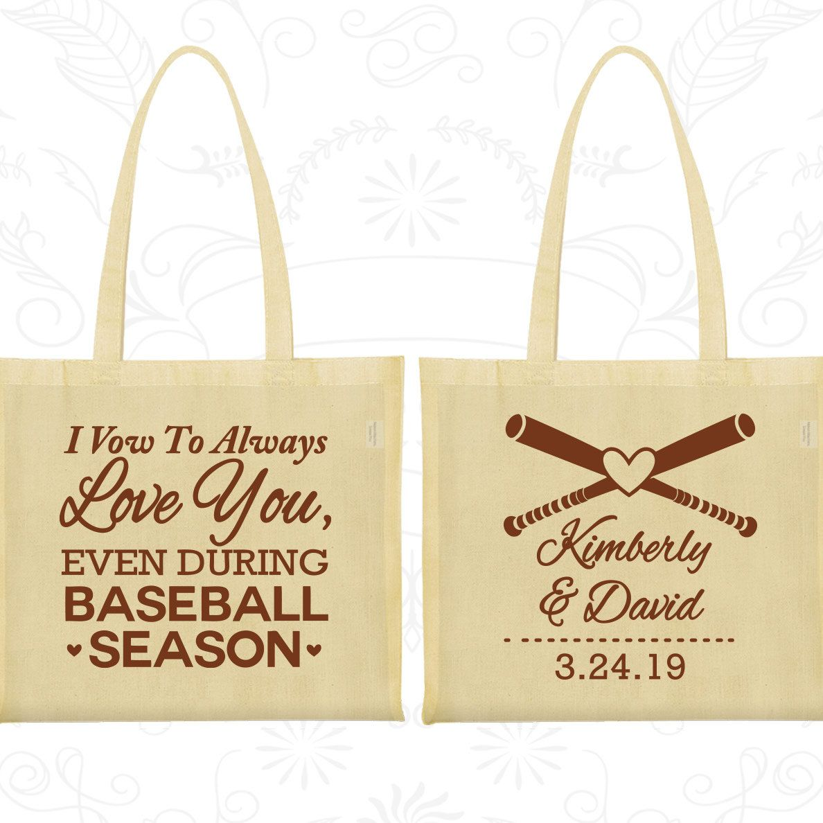 I Vow to Always Love You, Even During Baseball Season, Cheap Canvas Bags, Baseball Wedding Bags, Custom Tote (301)