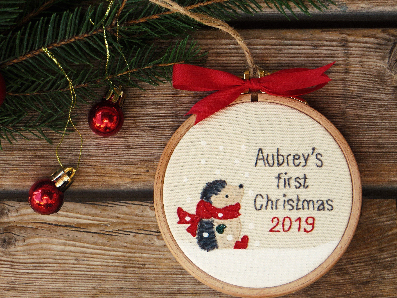 Hedgehog Baby S First Christmas Ornament Custom Etsy First Christmas Ornament Christmas Embroidery Christmas Crafts Diy