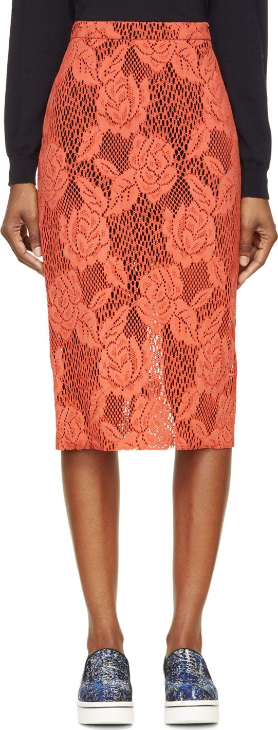 MSGM Coral Coated Lace Pencil Skirt