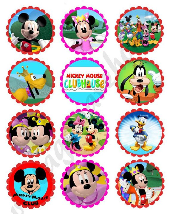 MICKEY MOUSE CLUBHOUSE Craft Circles - Instant Download ... Mickey Mouse Cupcake Toppers Printable