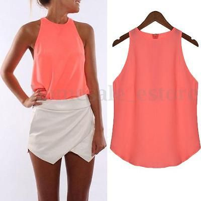 Women Summer Cami Sleeveless Chiffon Vest Tee Shirt Casual Blouse ...
