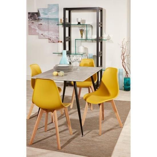 SACHA Lot de 4 chaises de salle à manger jaune moutarde +