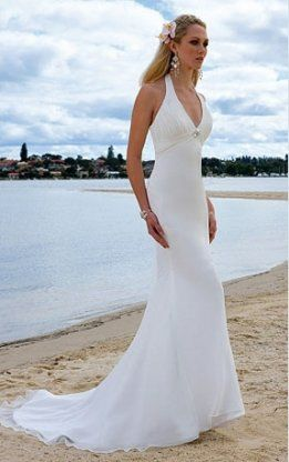 long white beach wedding dresses