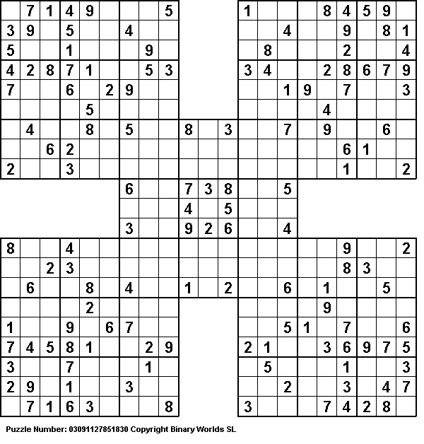 Finish A Samurai Sudoku Puzzle Bucket List Pending