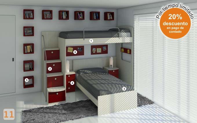 Mueble: (Código A54) cama-adolecentes - AGIOLETTO, Muebles ...
