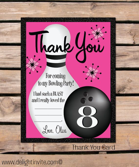 Retro bowling party thank you cards by wwwdelightinvite - bowling invitation