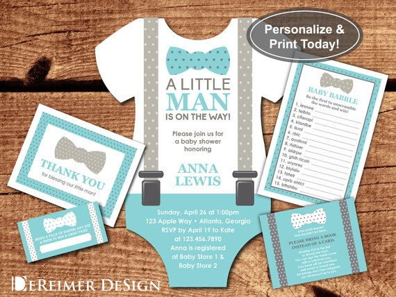 12 Onesie Baby Boy Shower Invitations Little Man Bow Tie Tuxedo