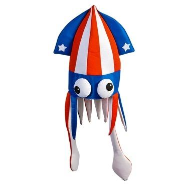 """Privateislandparty.com - Patriotic Squid Hat 5937 $4.99 These costume accessory Patriotic squid hats are awesome! They are made of a felt-like polyester material, one size fits most adult heads up to 22"""" cicumference. About 15"""" tall with the tentacles-arms. Great Patriotic accessory for any aquatic theme, Patriotic event, Memorial Day and Independence Day! Wear it in Pride. Pass out the red, white, and blue squid hats to get the party started."""