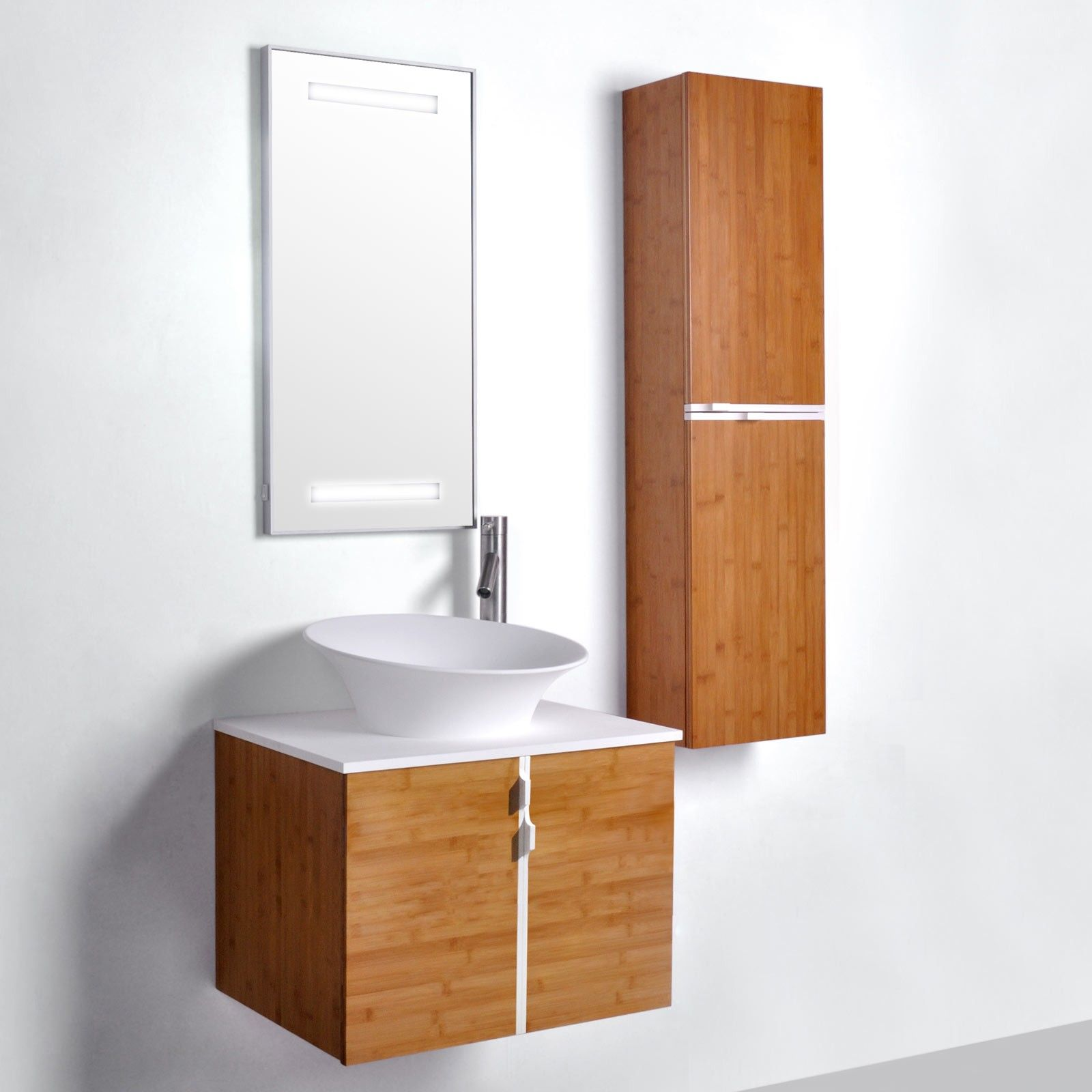 Merveilleux Bamboo 600mm Vanity With Solid Surface Top, Wall Hung Cabinet   Blum Soft  Close