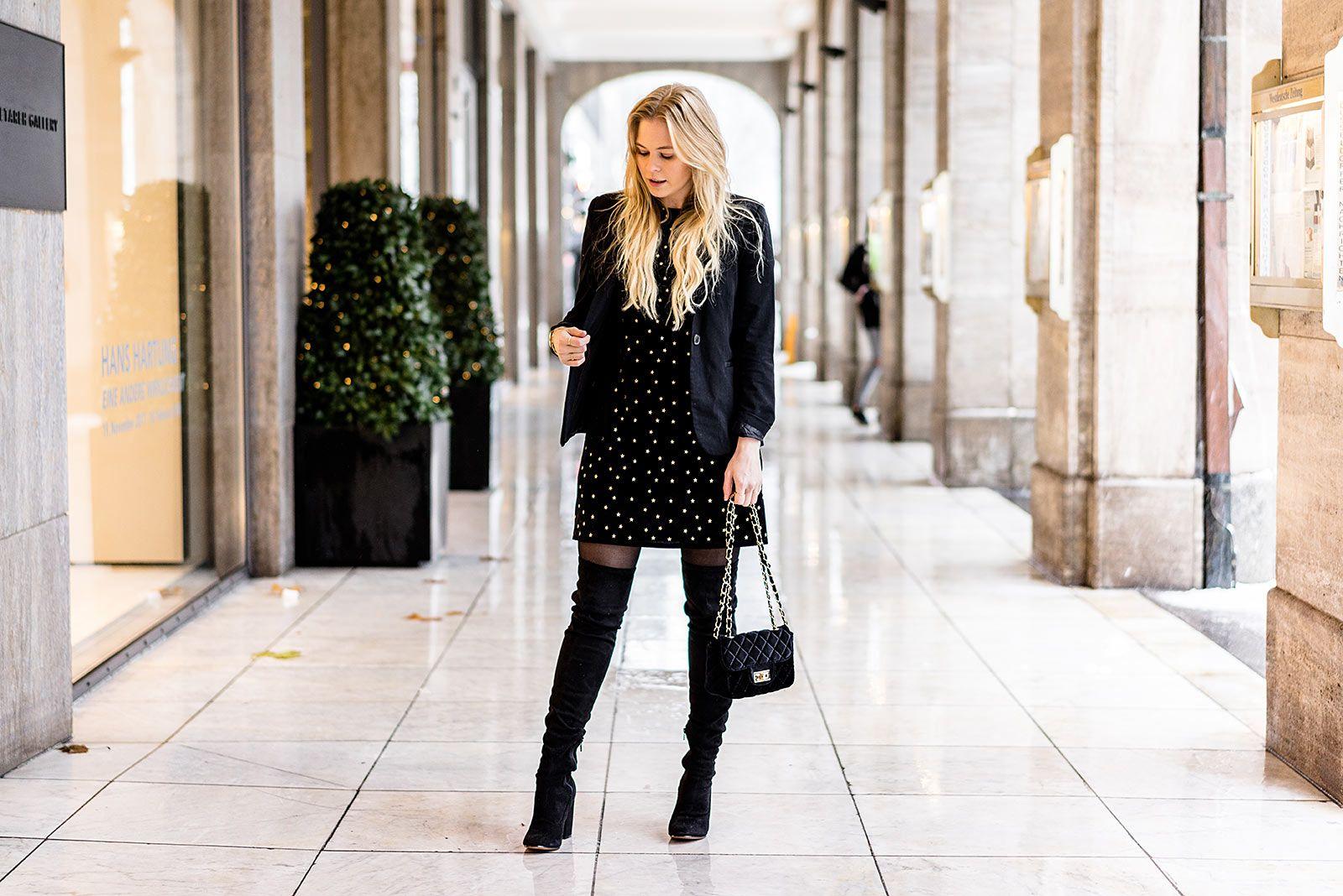 Mein Outfit zu Weihnachten: Ein schwarzes Kleid aus Samt mit ...
