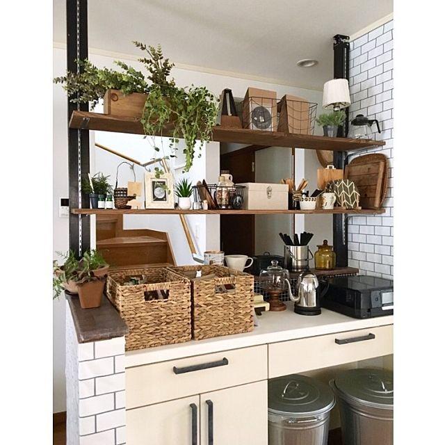 棚 キッチンカウンターの上 キッチン棚 キッチンカウンターdiy