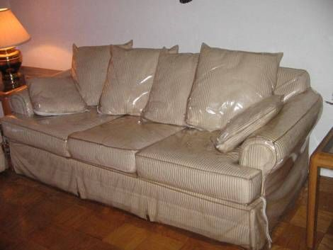 Plastic sofa covers its a pr thing i think we had them on every chair in the house even the Furniture plastic cover