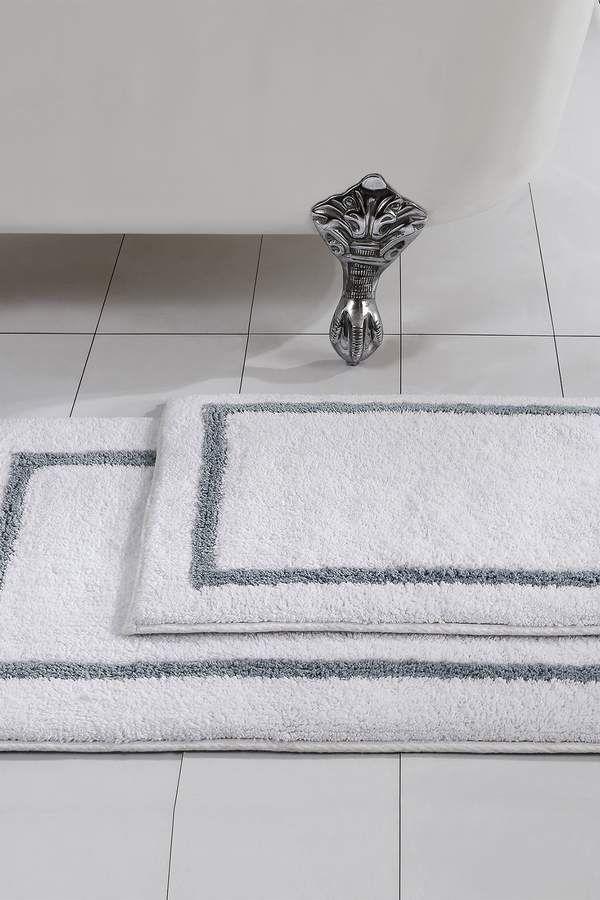 Amrapur Overseas Silver Reversible Contrast Stripe Bath Mat 2