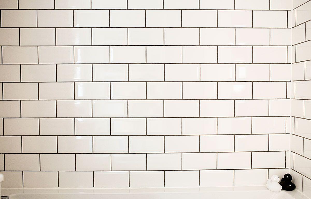 White Metro Tiles Dark Grout Google Search Monochrome