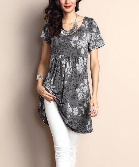 1a44ee6e21e Reborn Collection Charcoal Floral Short-Sleeve Empire-Waist Tunic Dress