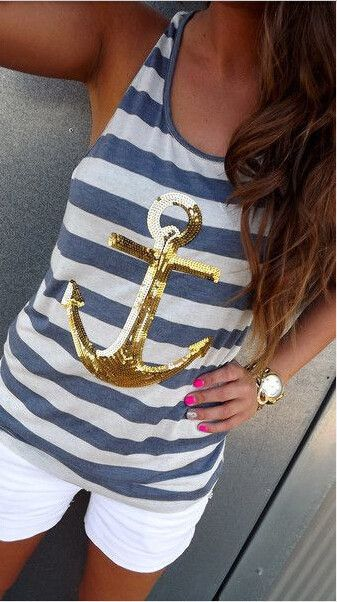 CASUAL STRIPED SEQUINED ANCHOR VEST CQB18ER
