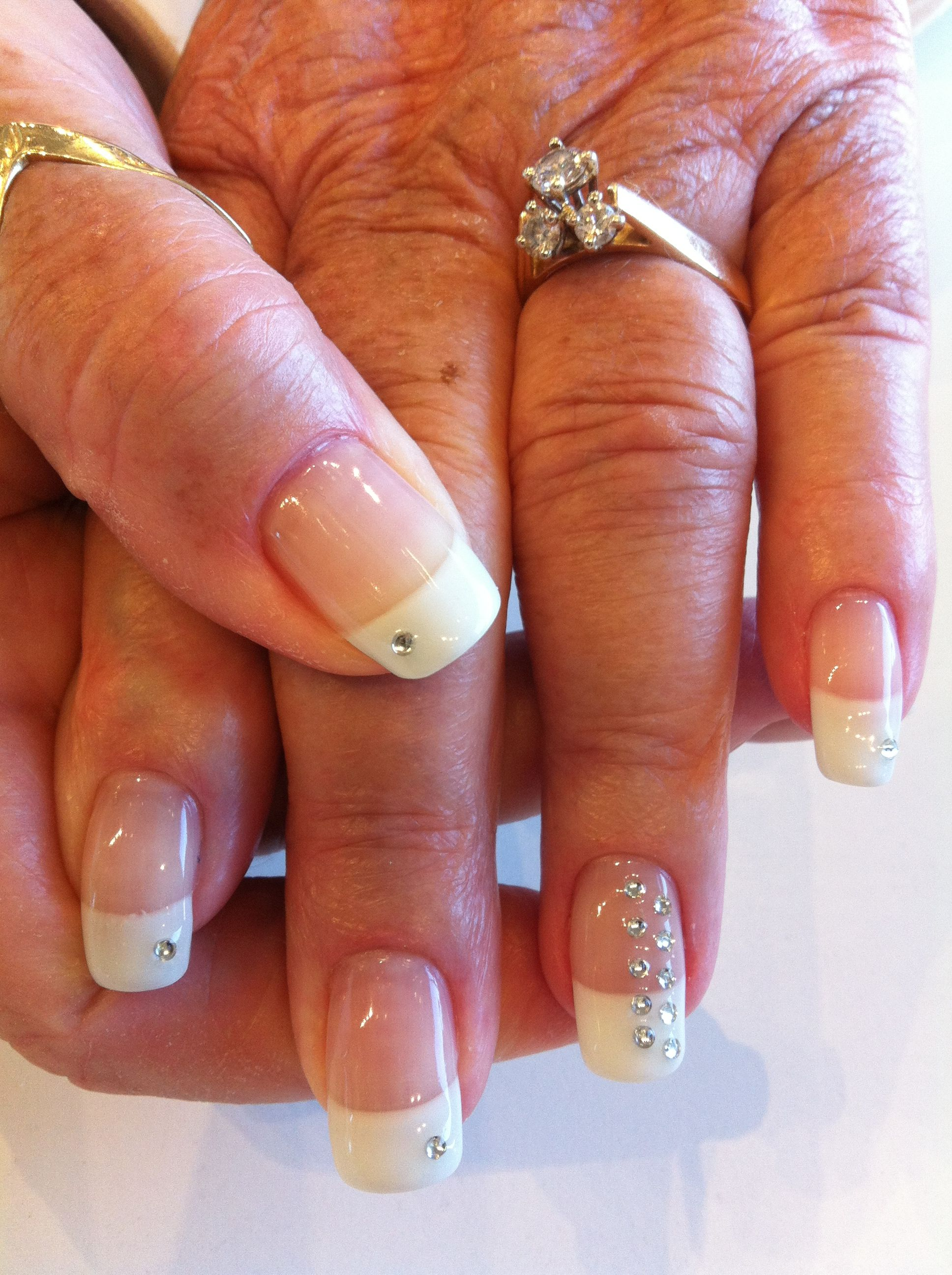 Classic French manicure with rhinestone accents. | Nails | Pinterest ...