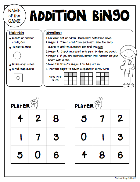 Math Games for Partners {Grades 1-2} | Homework, Math and Gaming