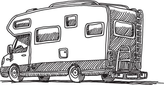 Hand Drawn Vector Drawing Of An Approaching Car With Headlights Wohnwagen Camping Wohnwagen Caravan