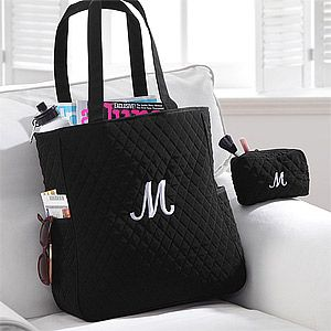 Personalized Quilted Tote Bag & Makeup Bag Set - 8250 | wedding ... : quilted monogrammed tote bags - Adamdwight.com